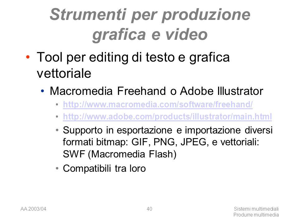 AA 2003/04Sistemi multimediali Produrre multimedia 40 Strumenti per produzione grafica e video Tool per editing di testo e grafica vettoriale Macromed