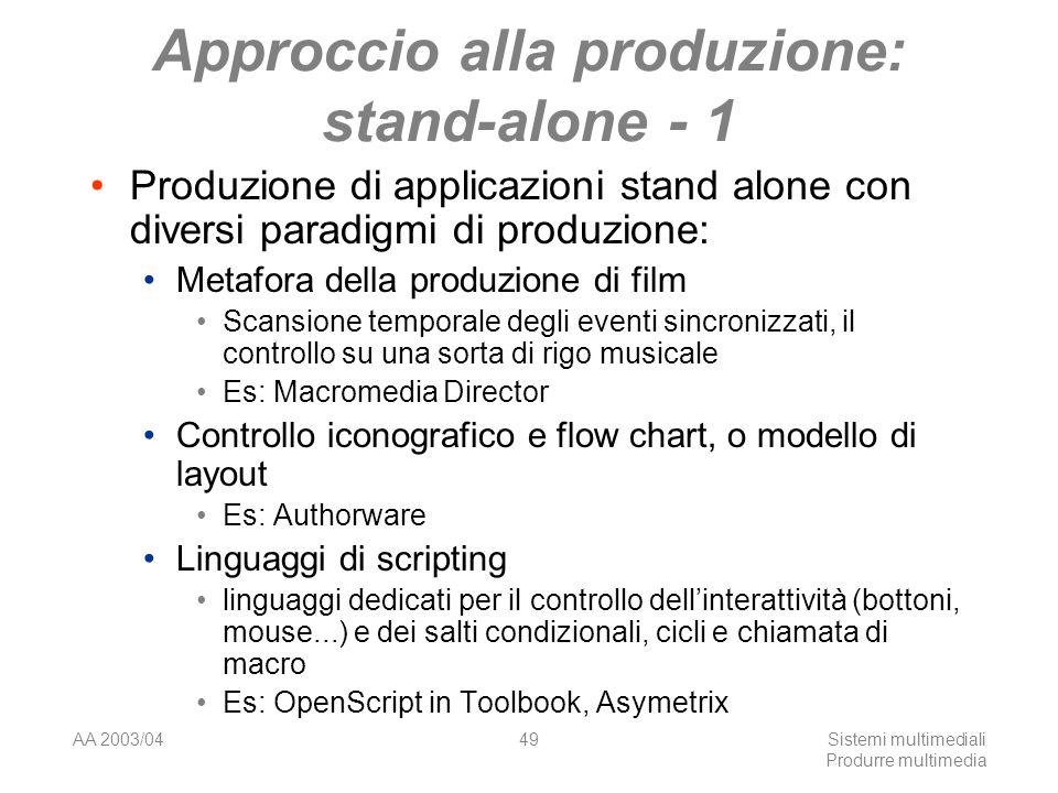 AA 2003/04Sistemi multimediali Produrre multimedia 49 Approccio alla produzione: stand-alone - 1 Produzione di applicazioni stand alone con diversi pa