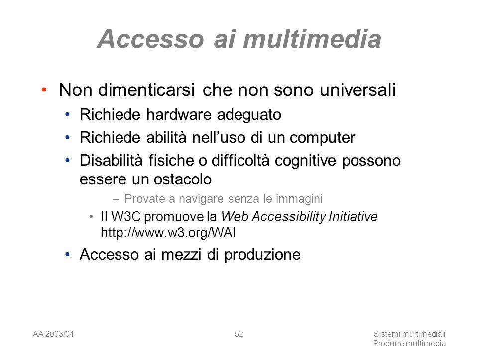 AA 2003/04Sistemi multimediali Produrre multimedia 52 Accesso ai multimedia Non dimenticarsi che non sono universali Richiede hardware adeguato Richie