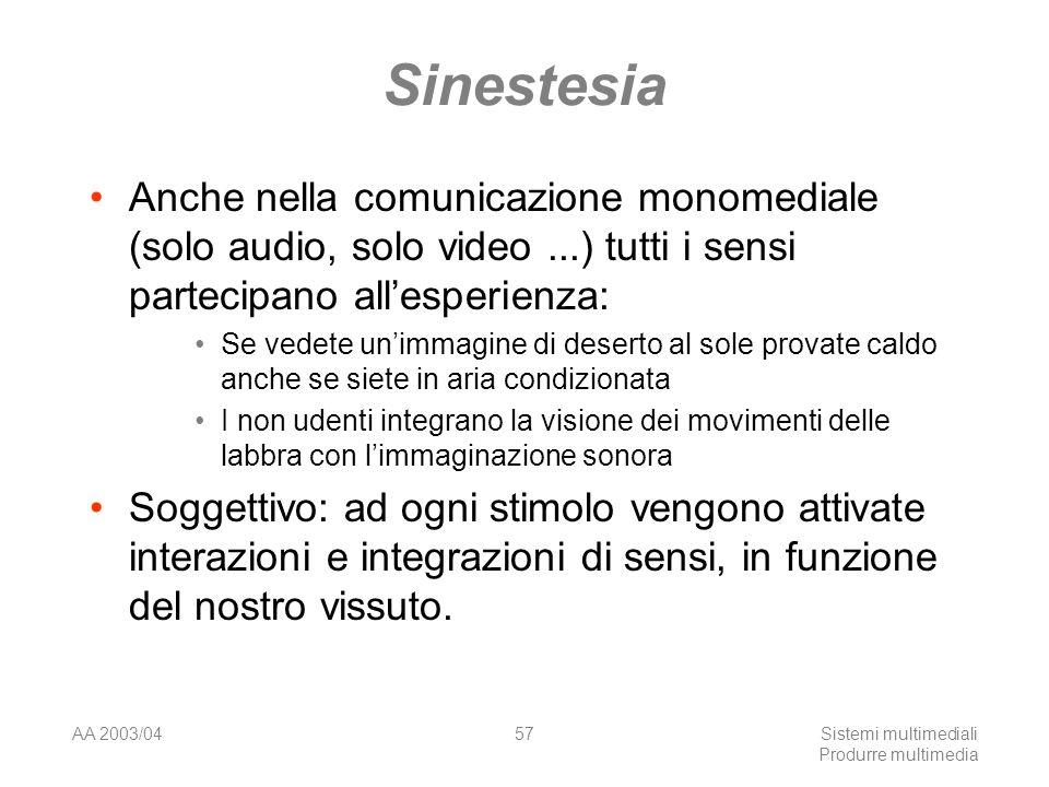 AA 2003/04Sistemi multimediali Produrre multimedia 57 Sinestesia Anche nella comunicazione monomediale (solo audio, solo video...) tutti i sensi parte