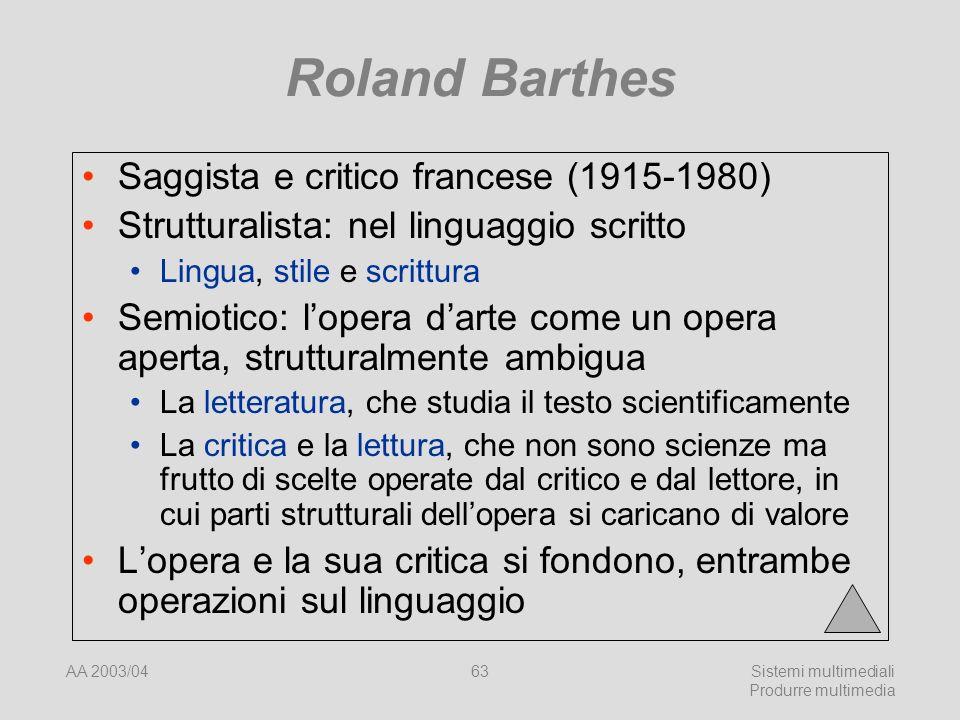 AA 2003/04Sistemi multimediali Produrre multimedia 63 Roland Barthes Saggista e critico francese (1915-1980) Strutturalista: nel linguaggio scritto Li