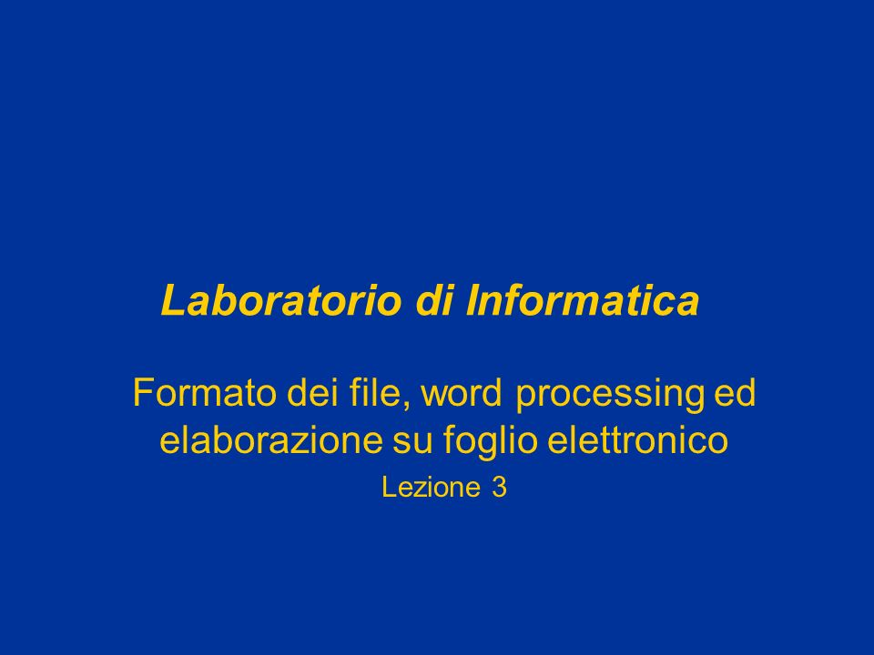 Laboratorio di Informatica Formato dei file, word processing ed elaborazione su foglio elettronico Lezione 3