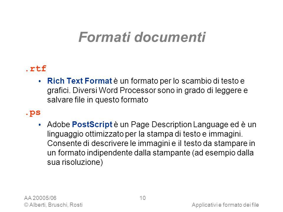 AA 20005/06 © Alberti, Bruschi, RostiApplicativi e formato dei file 10 Formati documenti.rtf Rich Text Format è un formato per lo scambio di testo e g