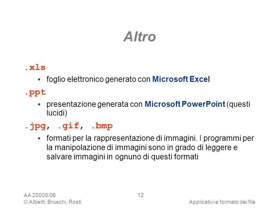 AA 20005/06 © Alberti, Bruschi, RostiApplicativi e formato dei file 12 Altro.xls foglio elettronico generato con Microsoft Excel.ppt presentazione gen