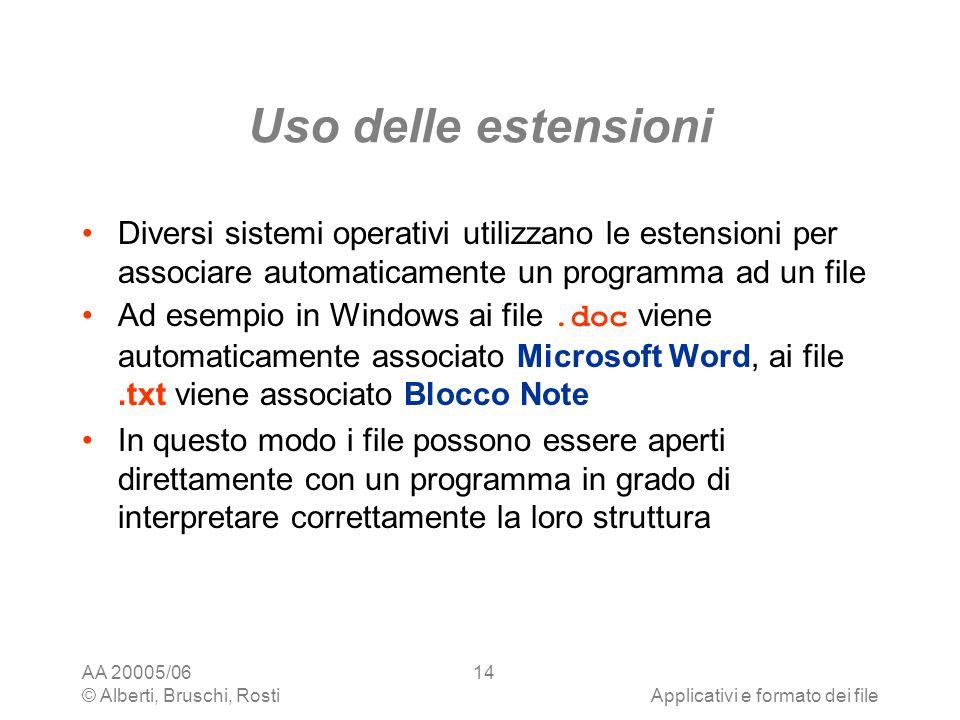 AA 20005/06 © Alberti, Bruschi, RostiApplicativi e formato dei file 14 Uso delle estensioni Diversi sistemi operativi utilizzano le estensioni per ass