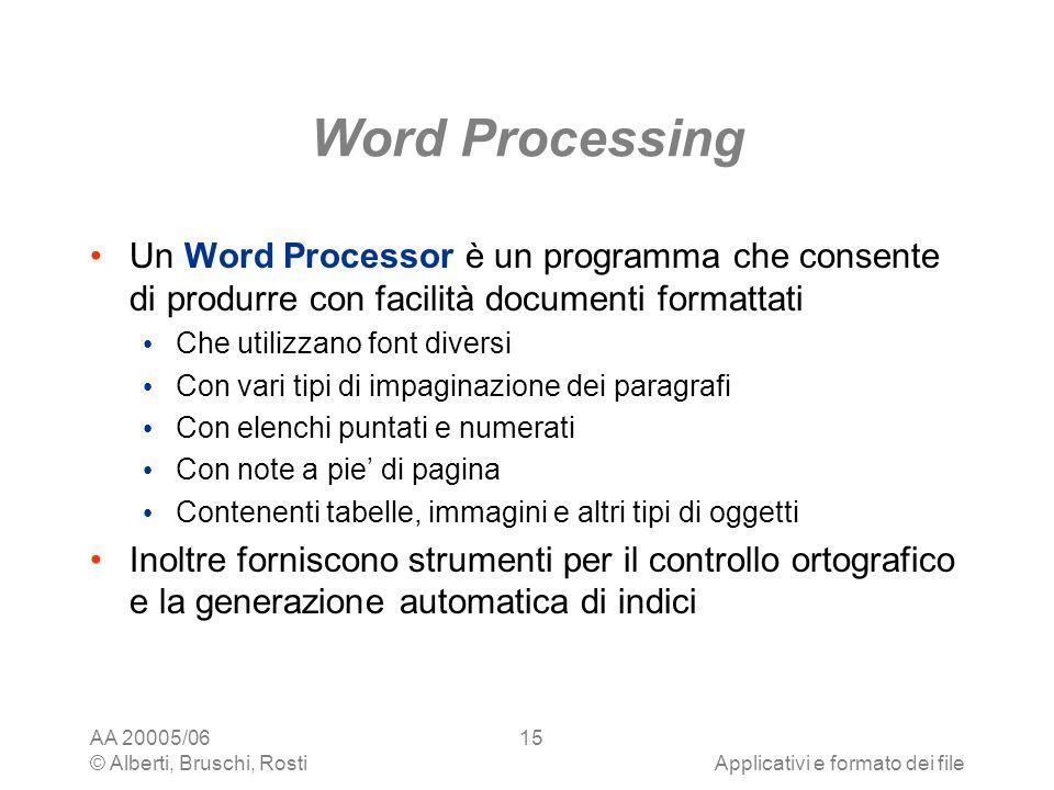 AA 20005/06 © Alberti, Bruschi, RostiApplicativi e formato dei file 15 Word Processing Un Word Processor è un programma che consente di produrre con f