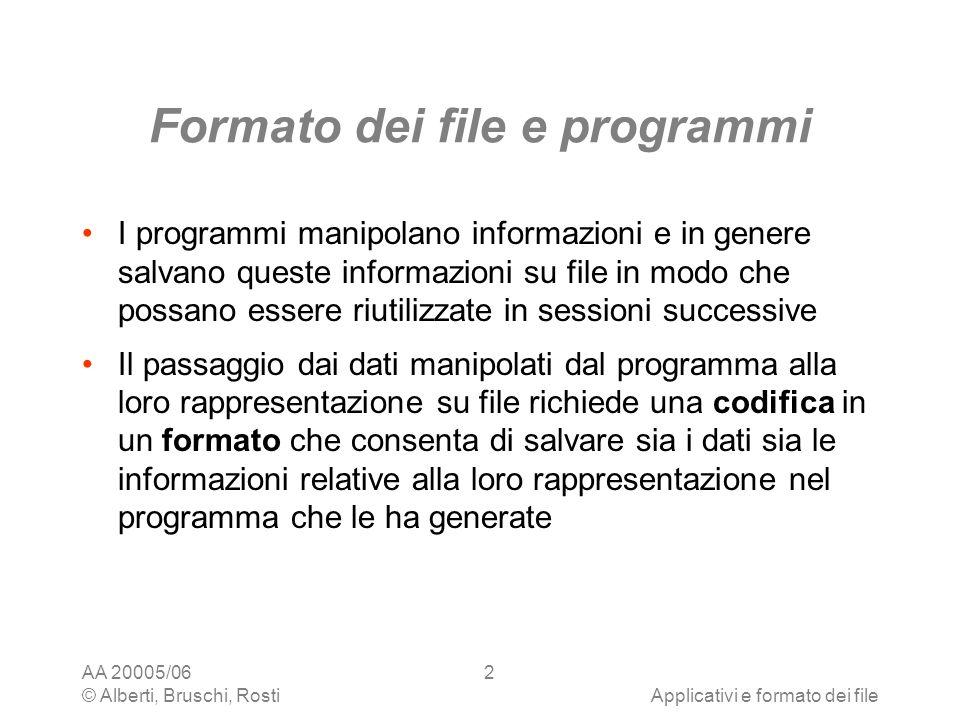 AA 20005/06 © Alberti, Bruschi, RostiApplicativi e formato dei file 13 Convertitori Sono programmi per convertire file da un formato ad un altro I word processor, i fogli elettronici e gli editor di immagini implementano in genere convertitori per i formati più comuni