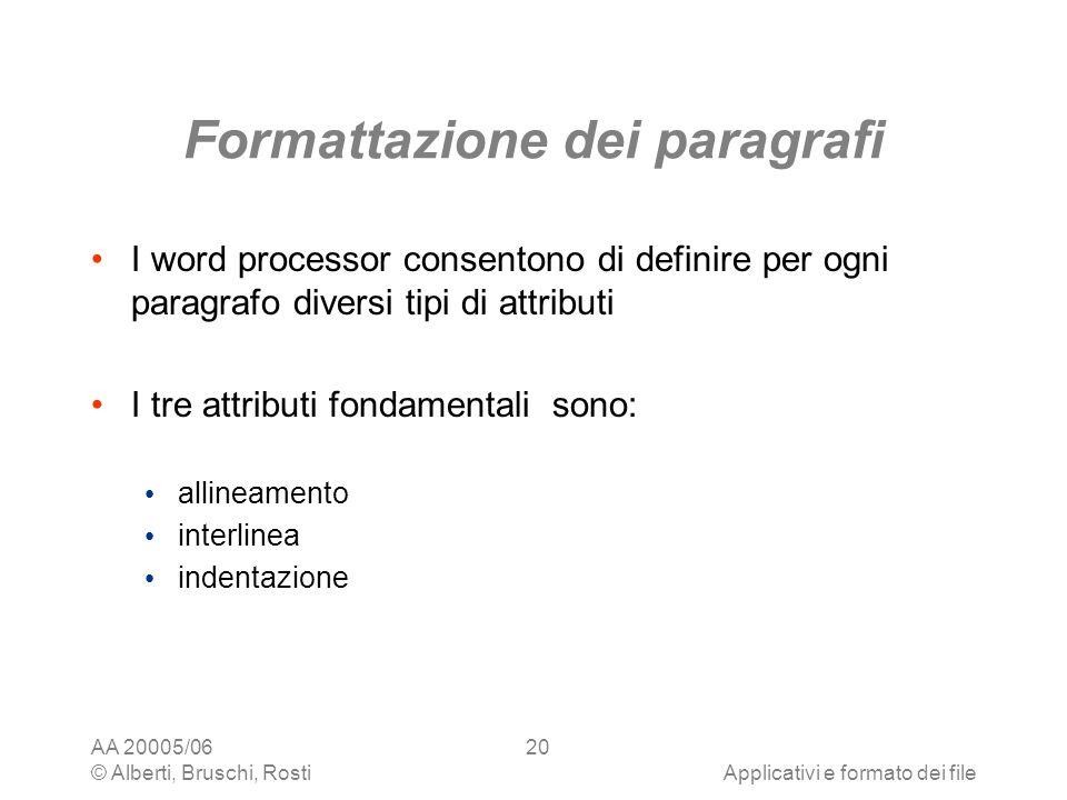 AA 20005/06 © Alberti, Bruschi, RostiApplicativi e formato dei file 20 Formattazione dei paragrafi I word processor consentono di definire per ogni pa