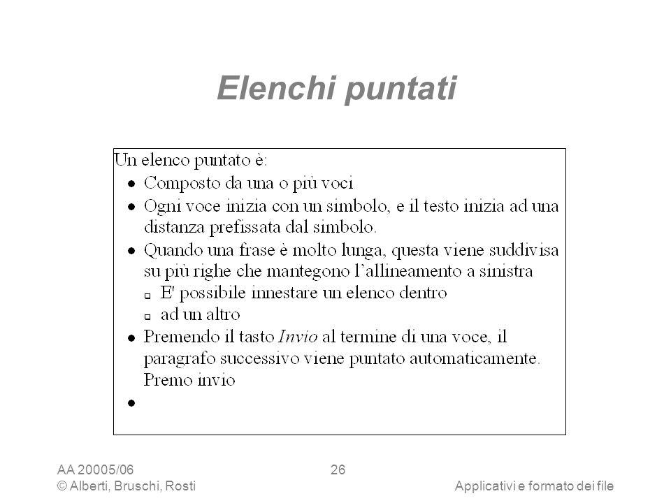 AA 20005/06 © Alberti, Bruschi, RostiApplicativi e formato dei file 26 Elenchi puntati