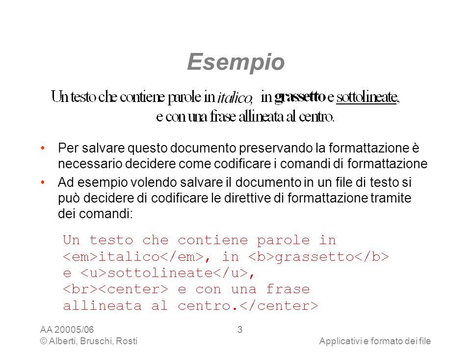 AA 20005/06 © Alberti, Bruschi, RostiApplicativi e formato dei file 34 Tabelle: esempio