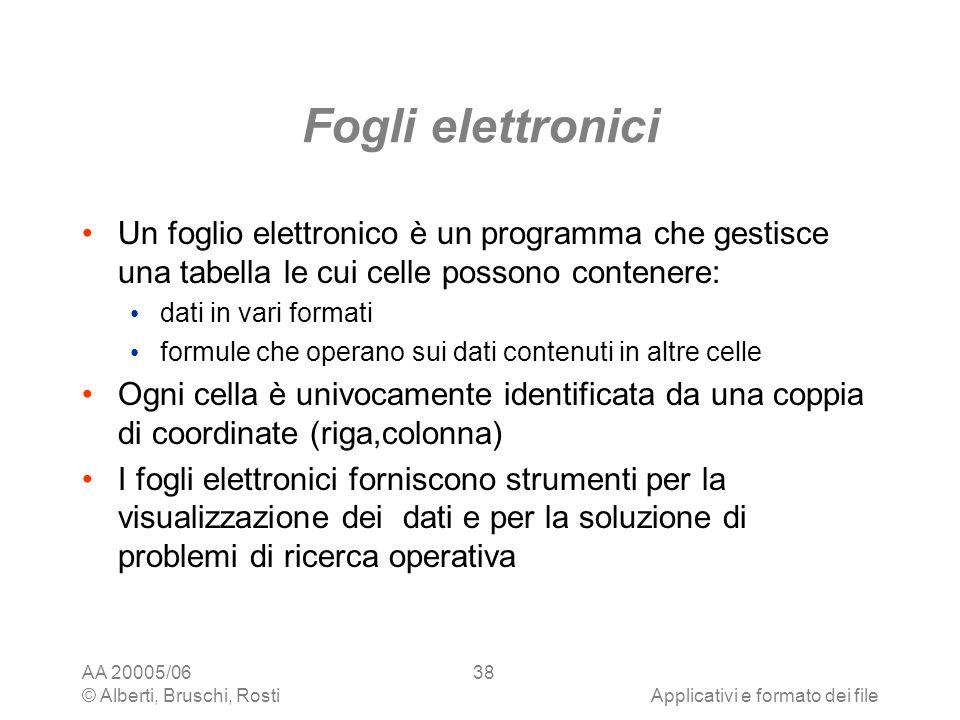 AA 20005/06 © Alberti, Bruschi, RostiApplicativi e formato dei file 38 Fogli elettronici Un foglio elettronico è un programma che gestisce una tabella