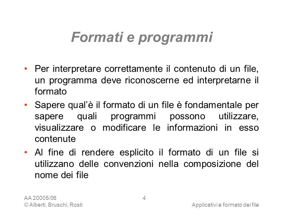 AA 20005/06 © Alberti, Bruschi, RostiApplicativi e formato dei file 4 Formati e programmi Per interpretare correttamente il contenuto di un file, un p
