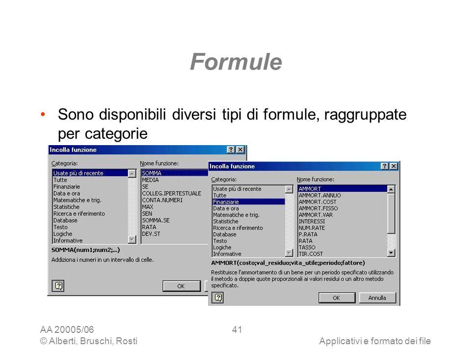 AA 20005/06 © Alberti, Bruschi, RostiApplicativi e formato dei file 41 Formule Sono disponibili diversi tipi di formule, raggruppate per categorie