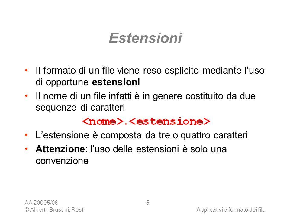 AA 20005/06 © Alberti, Bruschi, RostiApplicativi e formato dei file 5 Estensioni Il formato di un file viene reso esplicito mediante luso di opportune