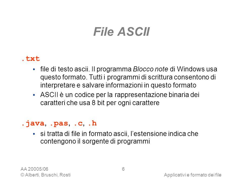 AA 20005/06 © Alberti, Bruschi, RostiApplicativi e formato dei file 6 File ASCII.txt file di testo ascii. Il programma Blocco note di Windows usa ques