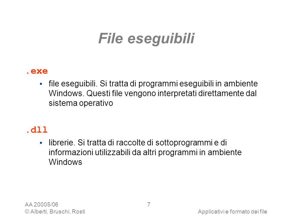 AA 20005/06 © Alberti, Bruschi, RostiApplicativi e formato dei file 7 File eseguibili.exe file eseguibili. Si tratta di programmi eseguibili in ambien