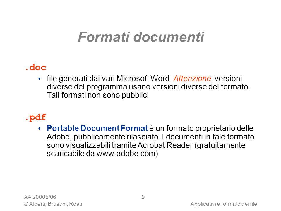 AA 20005/06 © Alberti, Bruschi, RostiApplicativi e formato dei file 20 Formattazione dei paragrafi I word processor consentono di definire per ogni paragrafo diversi tipi di attributi I tre attributi fondamentali sono: allineamento interlinea indentazione