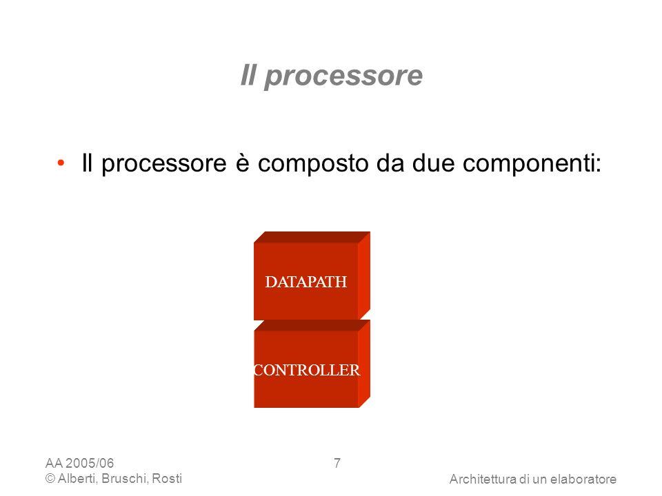AA 2005/06 © Alberti, Bruschi, RostiArchitettura di un elaboratore 7 Il processore Il processore è composto da due componenti: DATAPATH CONTROLLER