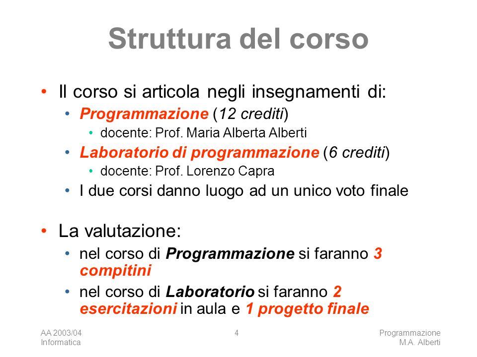 AA 2003/04 Informatica Programmazione M.A.Alberti 15 Contatti con i docenti Ricevimento Prof.