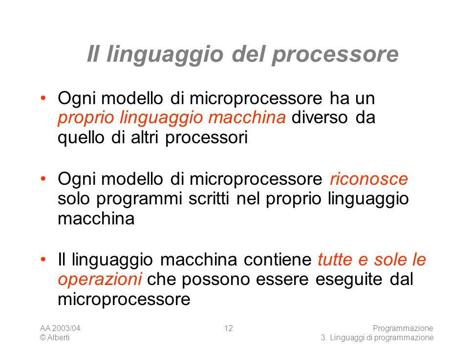 AA 2003/04 © Alberti Programmazione 3. Linguaggi di programmazione 12 Il linguaggio del processore Ogni modello di microprocessore ha un proprio lingu