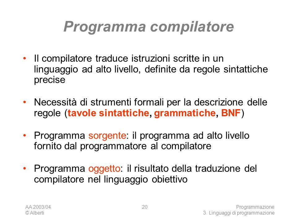 AA 2003/04 © Alberti Programmazione 3. Linguaggi di programmazione 20 Programma compilatore Il compilatore traduce istruzioni scritte in un linguaggio
