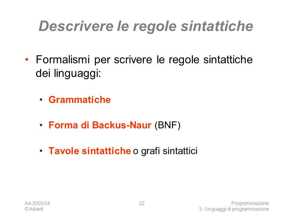 AA 2003/04 © Alberti Programmazione 3. Linguaggi di programmazione 22 Descrivere le regole sintattiche Formalismi per scrivere le regole sintattiche d