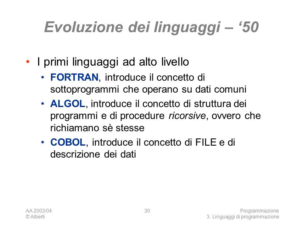 AA 2003/04 © Alberti Programmazione 3. Linguaggi di programmazione 30 Evoluzione dei linguaggi – 50 I primi linguaggi ad alto livello FORTRAN, introdu