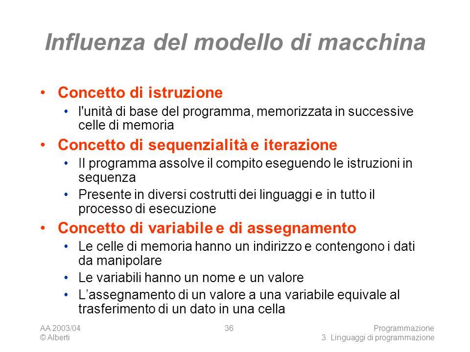 AA 2003/04 © Alberti Programmazione 3. Linguaggi di programmazione 36 Influenza del modello di macchina Concetto di istruzione l'unità di base del pro