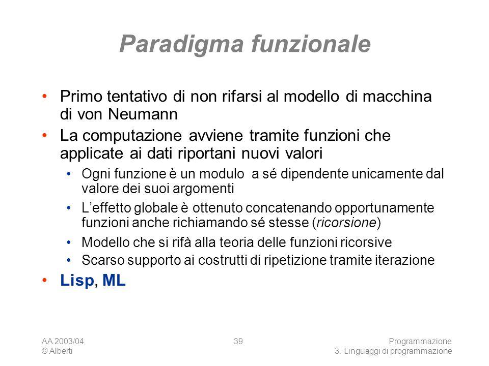 AA 2003/04 © Alberti Programmazione 3. Linguaggi di programmazione 39 Paradigma funzionale Primo tentativo di non rifarsi al modello di macchina di vo
