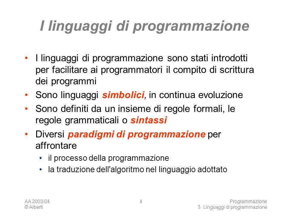 AA 2003/04 © Alberti Programmazione 3. Linguaggi di programmazione 4 I linguaggi di programmazione I linguaggi di programmazione sono stati introdotti