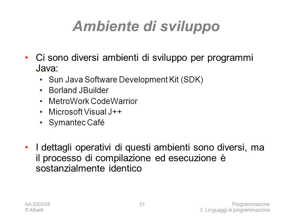 AA 2003/04 © Alberti Programmazione 3. Linguaggi di programmazione 51 Ambiente di sviluppo Ci sono diversi ambienti di sviluppo per programmi Java: Su