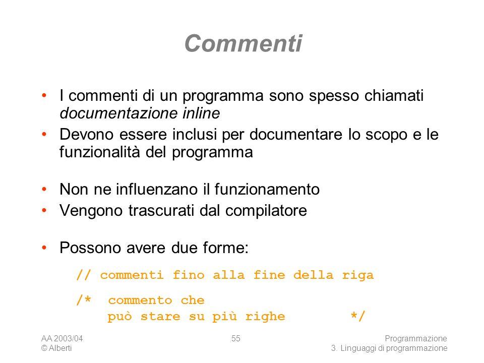AA 2003/04 © Alberti Programmazione 3. Linguaggi di programmazione 55 Commenti I commenti di un programma sono spesso chiamati documentazione inline D