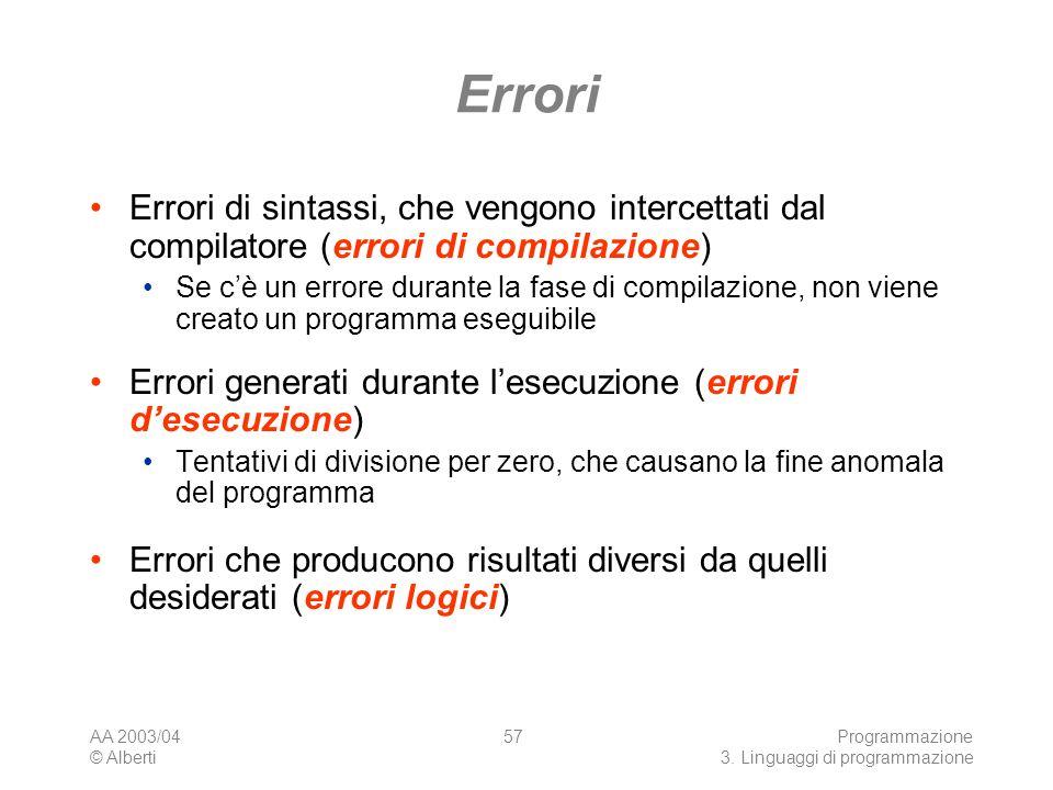 AA 2003/04 © Alberti Programmazione 3. Linguaggi di programmazione 57 Errori Errori di sintassi, che vengono intercettati dal compilatore (errori di c