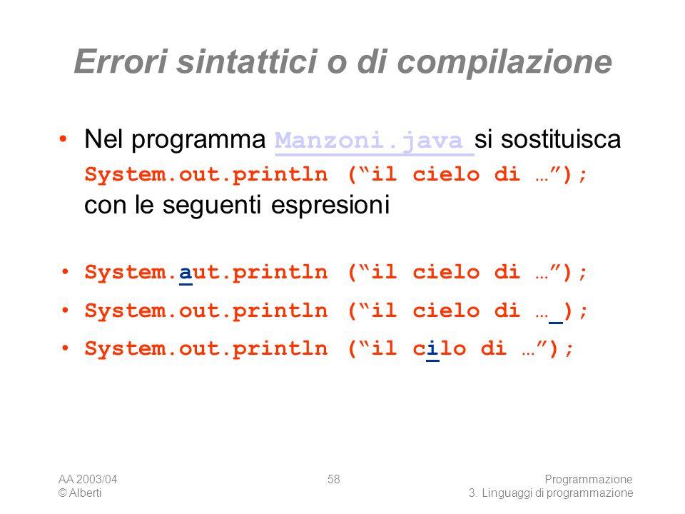 AA 2003/04 © Alberti Programmazione 3. Linguaggi di programmazione 58 Errori sintattici o di compilazione Nel programma Manzoni.java si sostituisca Sy