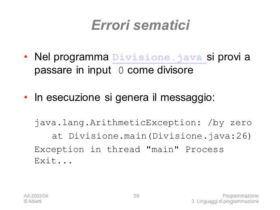 AA 2003/04 © Alberti Programmazione 3. Linguaggi di programmazione 59 Errori sematici Nel programma Divisione.java si provi a passare in input 0 come