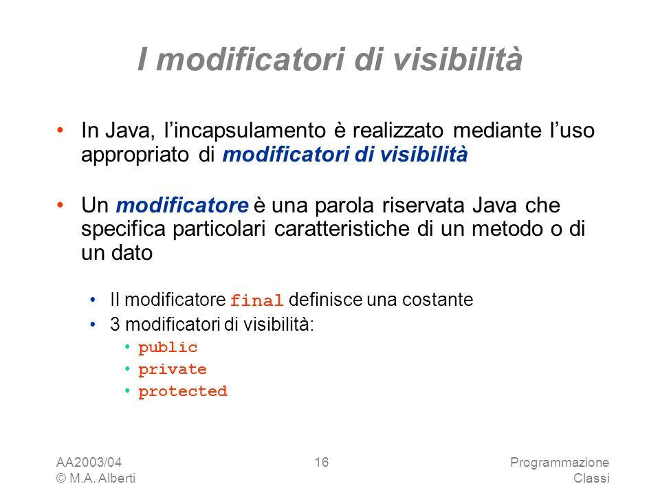 AA2003/04 © M.A. Alberti Programmazione Classi 16 I modificatori di visibilità In Java, lincapsulamento è realizzato mediante luso appropriato di modi