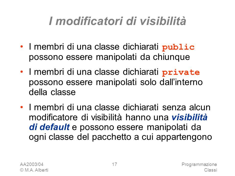 AA2003/04 © M.A. Alberti Programmazione Classi 17 I modificatori di visibilità I membri di una classe dichiarati public possono essere manipolati da c