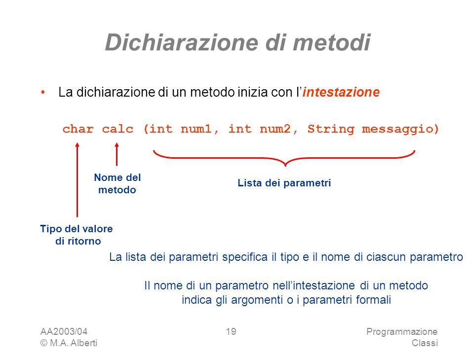 AA2003/04 © M.A. Alberti Programmazione Classi 19 Dichiarazione di metodi La dichiarazione di un metodo inizia con lintestazione char calc (int num1,