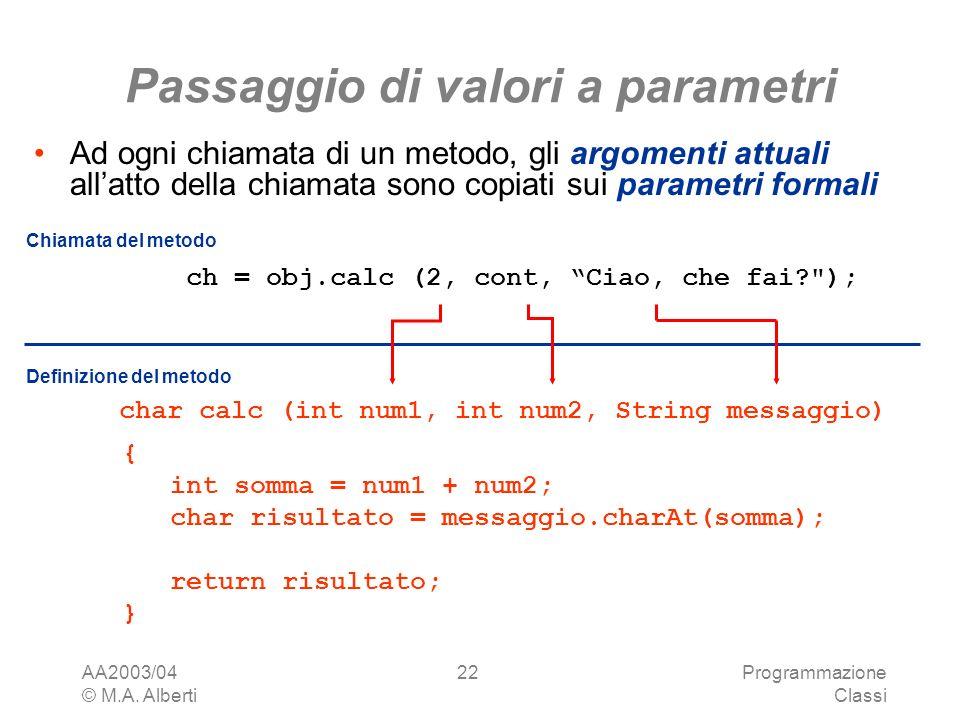AA2003/04 © M.A. Alberti Programmazione Classi 22 Passaggio di valori a parametri Ad ogni chiamata di un metodo, gli argomenti attuali allatto della c