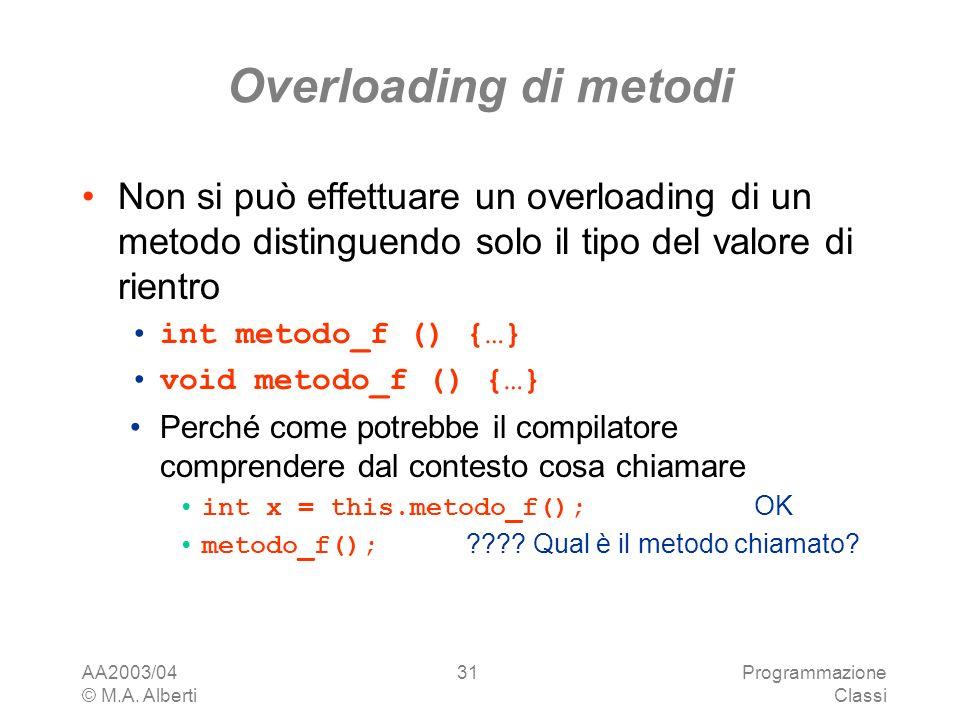 AA2003/04 © M.A. Alberti Programmazione Classi 31 Overloading di metodi Non si può effettuare un overloading di un metodo distinguendo solo il tipo de