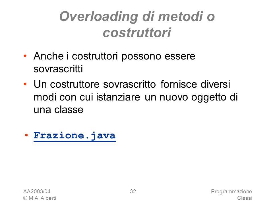 AA2003/04 © M.A. Alberti Programmazione Classi 32 Overloading di metodi o costruttori Anche i costruttori possono essere sovrascritti Un costruttore s