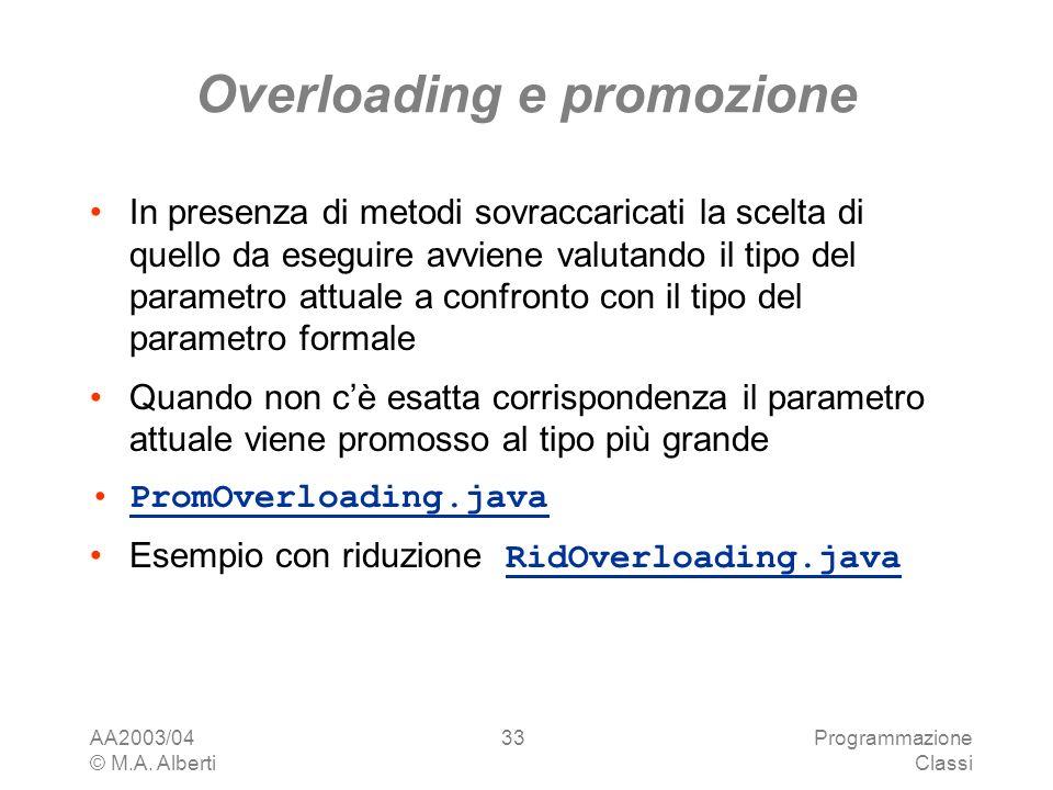 AA2003/04 © M.A. Alberti Programmazione Classi 33 Overloading e promozione In presenza di metodi sovraccaricati la scelta di quello da eseguire avvien