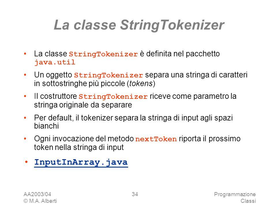 AA2003/04 © M.A. Alberti Programmazione Classi 34 La classe StringTokenizer La classe StringTokenizer è definita nel pacchetto java.util Un oggetto St
