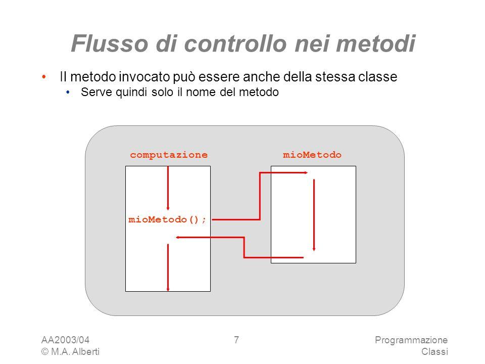 AA2003/04 © M.A. Alberti Programmazione Classi 7 mioMetodo(); mioMetodocomputazione Flusso di controllo nei metodi Il metodo invocato può essere anche