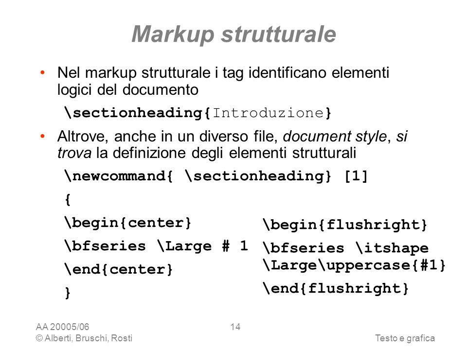 AA 20005/06 © Alberti, Bruschi, RostiTesto e grafica 14 Markup strutturale Nel markup strutturale i tag identificano elementi logici del documento \sectionheading{Introduzione} Altrove, anche in un diverso file, document style, si trova la definizione degli elementi strutturali \newcommand{ \sectionheading} [1] { \begin{center} \bfseries \Large # 1 \end{center} } \begin{flushright} \bfseries \itshape \Large\uppercase{#1} \end{flushright}