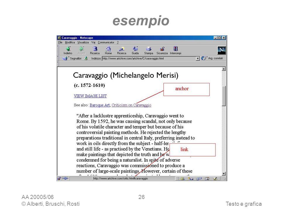 AA 20005/06 © Alberti, Bruschi, RostiTesto e grafica 26 esempio