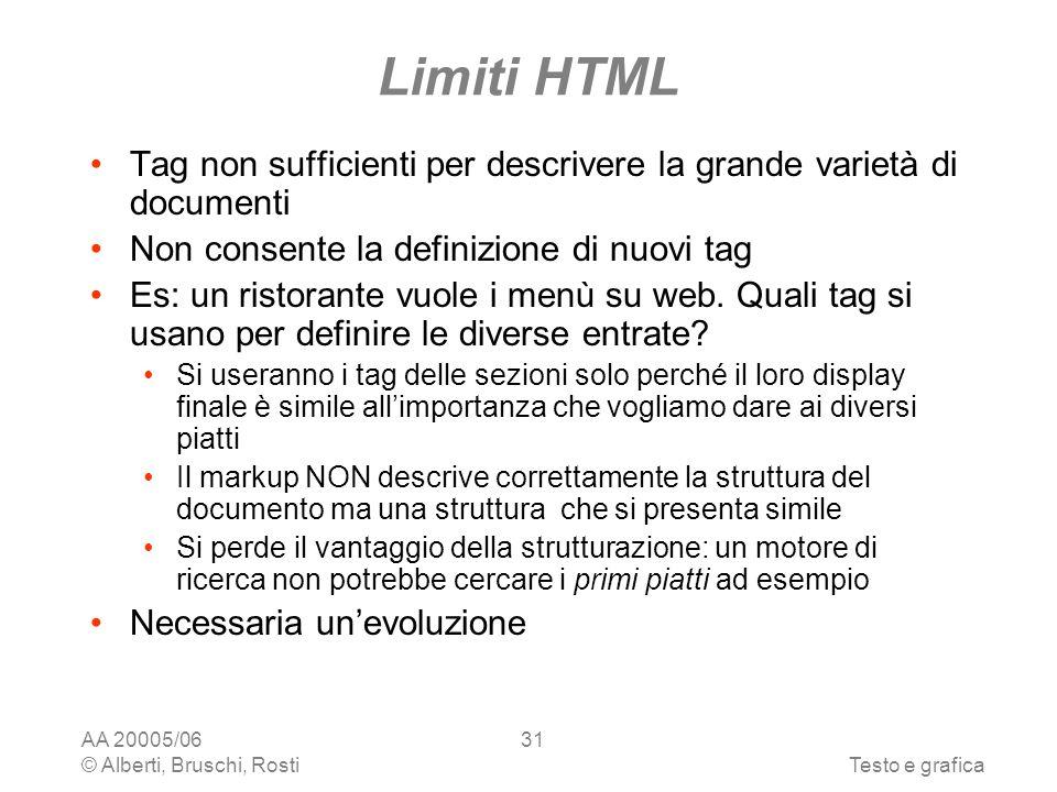 AA 20005/06 © Alberti, Bruschi, RostiTesto e grafica 31 Limiti HTML Tag non sufficienti per descrivere la grande varietà di documenti Non consente la definizione di nuovi tag Es: un ristorante vuole i menù su web.