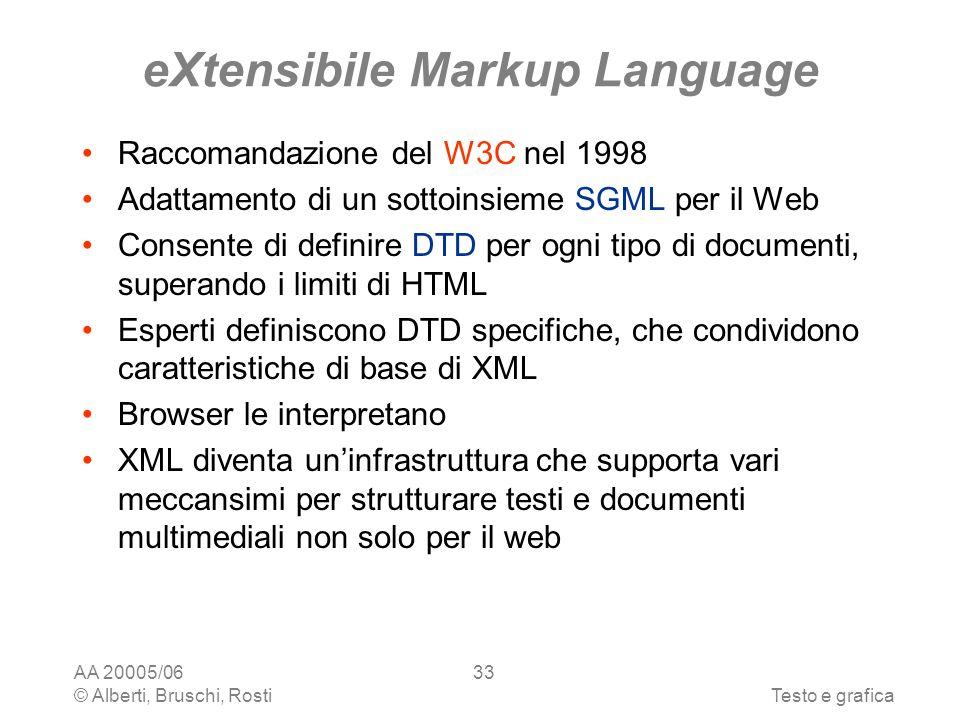 AA 20005/06 © Alberti, Bruschi, RostiTesto e grafica 33 eXtensibile Markup Language Raccomandazione del W3C nel 1998 Adattamento di un sottoinsieme SGML per il Web Consente di definire DTD per ogni tipo di documenti, superando i limiti di HTML Esperti definiscono DTD specifiche, che condividono caratteristiche di base di XML Browser le interpretano XML diventa uninfrastruttura che supporta vari meccansimi per strutturare testi e documenti multimediali non solo per il web