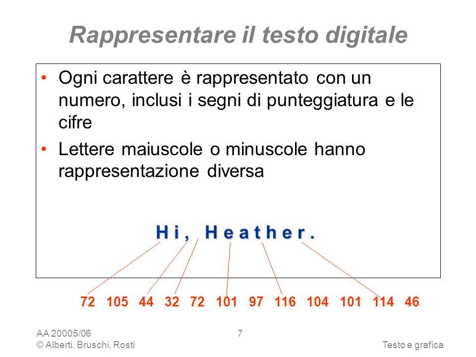 AA 20005/06 © Alberti, Bruschi, RostiTesto e grafica 7 Rappresentare il testo digitale Ogni carattere è rappresentato con un numero, inclusi i segni di punteggiatura e le cifre Lettere maiuscole o minuscole hanno rappresentazione diversa H i, H e a t h e r.