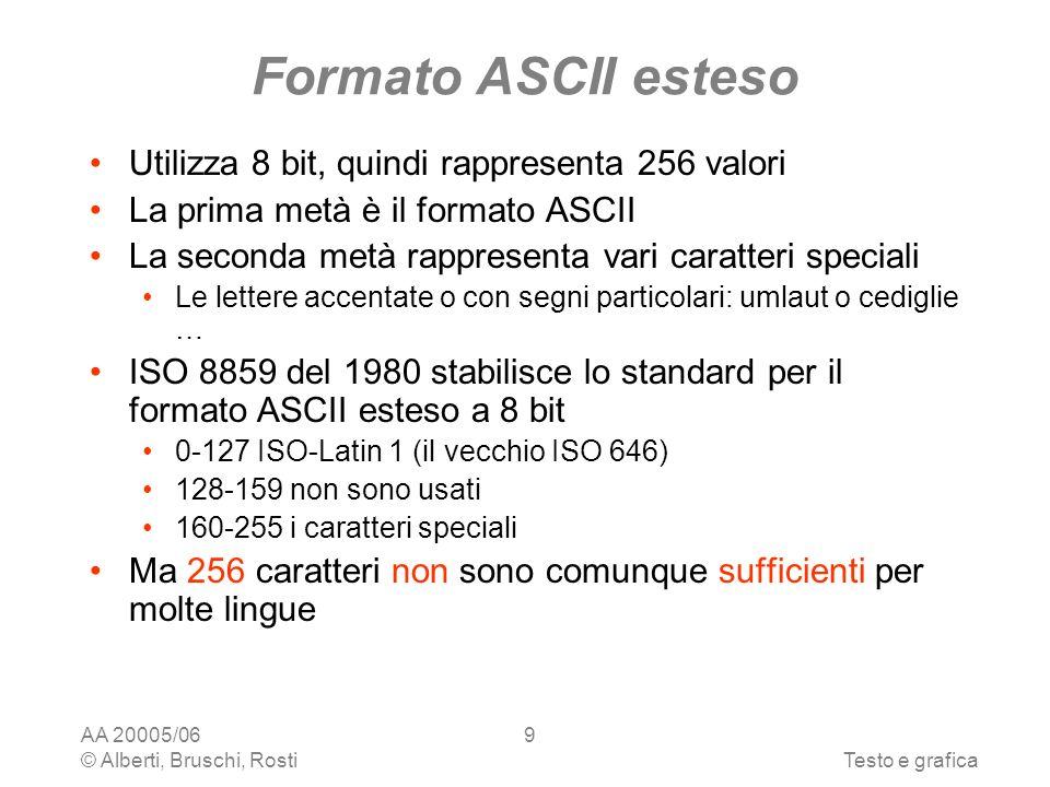 AA 20005/06 © Alberti, Bruschi, RostiTesto e grafica 9 Formato ASCII esteso Utilizza 8 bit, quindi rappresenta 256 valori La prima metà è il formato ASCII La seconda metà rappresenta vari caratteri speciali Le lettere accentate o con segni particolari: umlaut o cediglie … ISO 8859 del 1980 stabilisce lo standard per il formato ASCII esteso a 8 bit 0-127 ISO-Latin 1 (il vecchio ISO 646) 128-159 non sono usati 160-255 i caratteri speciali Ma 256 caratteri non sono comunque sufficienti per molte lingue